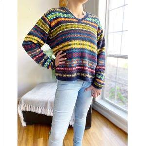 Vintage 90's Multi Color Boxy Crop V Neck Sweater